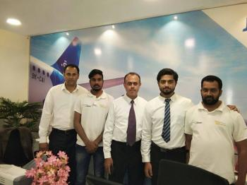 Travel Lounge Team at Jazeera Airways Inagrual day of flight from Hyderabad