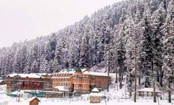 hiltop at gulmarg in winter view