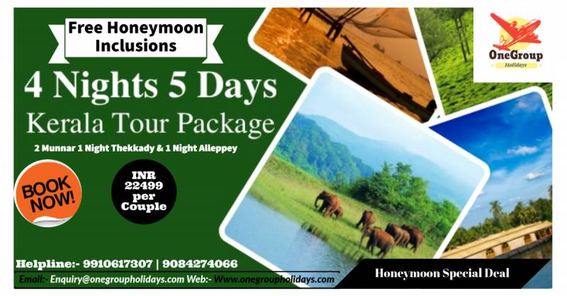 Kerala Honeymoon Special 4 Nights 5 Days with Free Honeymoon Inclusions