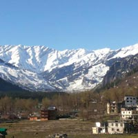 View of snow caped mountains from Manali